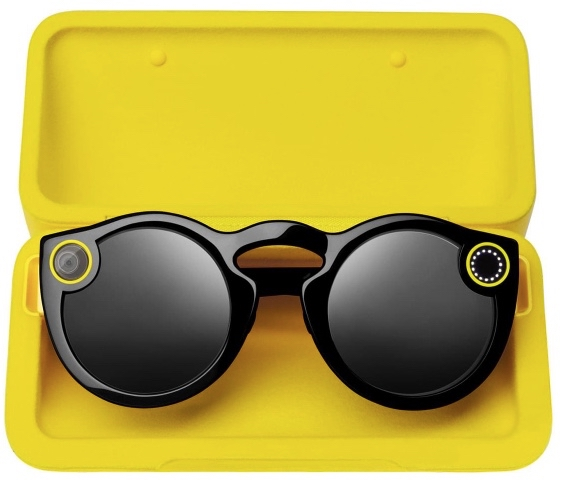 Black snapchat spectacles with a yellow box