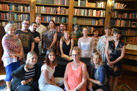 Bell Shakespeare Regional Teachers 2017 mentees pose for a group photo in library