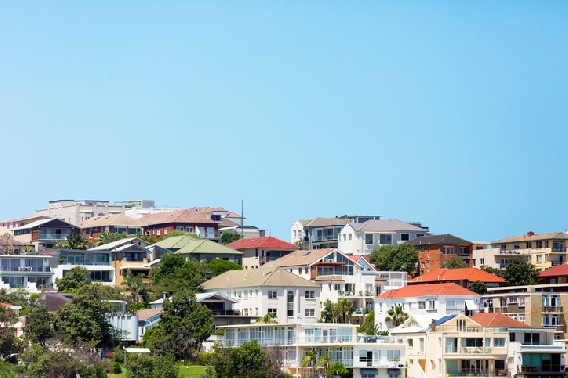 Landscape image of an Australian suburb with a lot of trees and houses in view