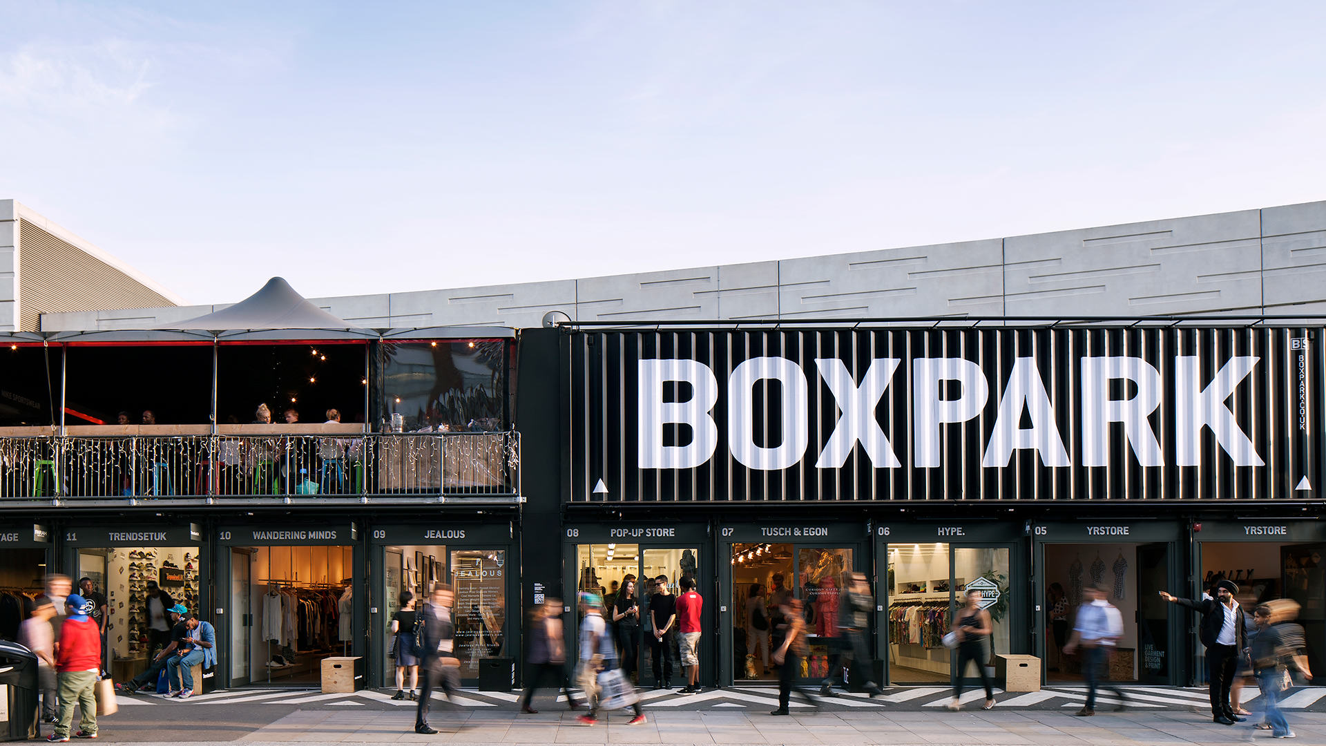 A shopping strip built with reused shipping containers