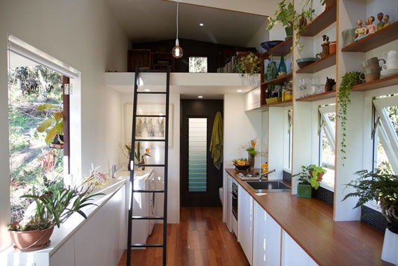 Internal view of a high spec tiny house with lots of light, wooden floors and a black steel ladder