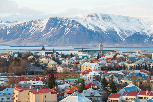 An aerial picture of Rejkavik, Iceland