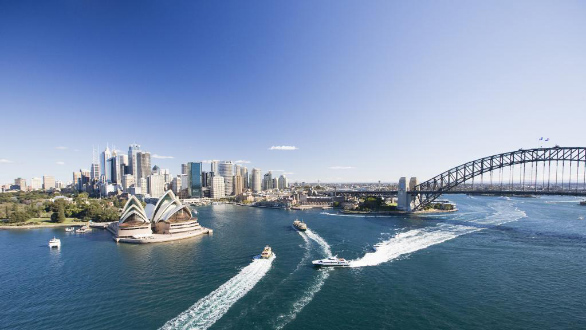 An aerial picture of Sydney Harbour with the Sydney Harbour Bridge and Opera house in view