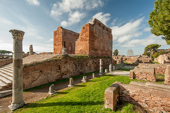 A photograph of the archeological ruins at Ostia Antica, on the outskirts of Rome